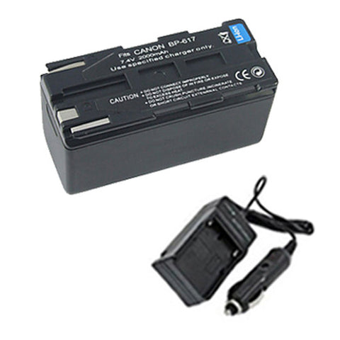 Amsahr Extended Performance Replacement Digital Camera and Camcorder Battery PLUS Mini Battery Travel Charger for Canon BP-617, CV11, PV1, DM-MV20, 20i, Elura - Includes Car Adapter