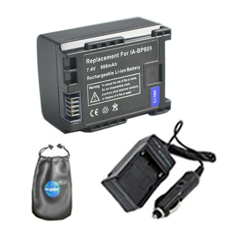 Amsahr Digital Replacement Digital Camera and Camcorder Battery PLUS Mini Battery Travel Charger for Canon BP-809, 807, CG-800, FS10, VIXIA: HF M30 - Includes Lens Accessories Pouch