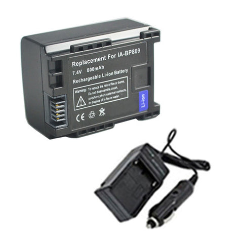 Amsahr Extended Performance Replacement Digital Camera and Camcorder Battery PLUS Mini Battery Travel Charger for Canon BP-809, 807, CG-800, FS10, VIXIA: HF M30 - Includes Car Adapter
