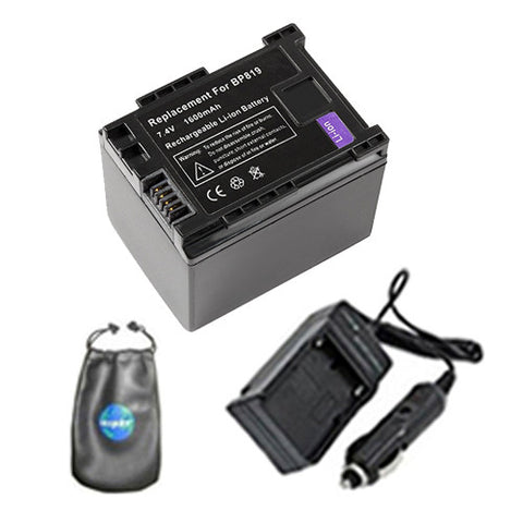 Amsahr Digital Replacement Digital Camera and Camcorder Battery PLUS Mini Battery Travel Charger for Canon BP-819, iVIS: HF G10, S11, LEGRIA: FS305 - Includes Lens Accessories Pouch