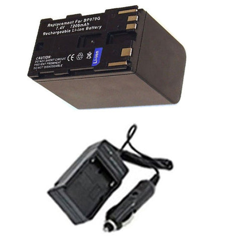 Amsahr Extended Performance Replacement Digital Camera and Camcorder Battery PLUS Mini Battery Travel Charger for Canon BP-970G, 97056GX, 911, 915, 930, 945 - Includes Car Adapter