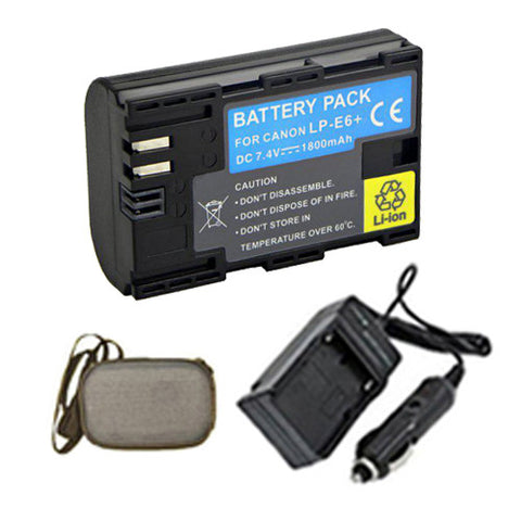 Amsahr Extended Life Replacement Digital Camera and Camcorder Battery PLUS Mini Battery Travel Charger for Canon LP-E6, LPE6, LC-E6, LCE6, 3347B001 EOS 7D - Includes Hard Case Camera Bag