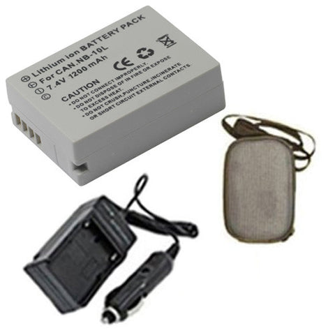 Amsahr Extended Life Replacement Digital Camera and Camcorder Battery PLUS Mini Battery Travel Charger for Canon NB-10L, PowerShot G15, G1X, SX50HS, SX40HS - Includes Hard Case Camera Bag