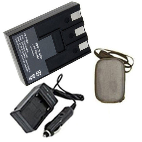 Amsahr Extended Life Replacement Digital Camera and Camcorder Battery PLUS Mini Battery Travel Charger for Canon NB3L, CB-2LU, CB-2LUE PowerShot: SD10 - Includes Hard Case Camera Bag
