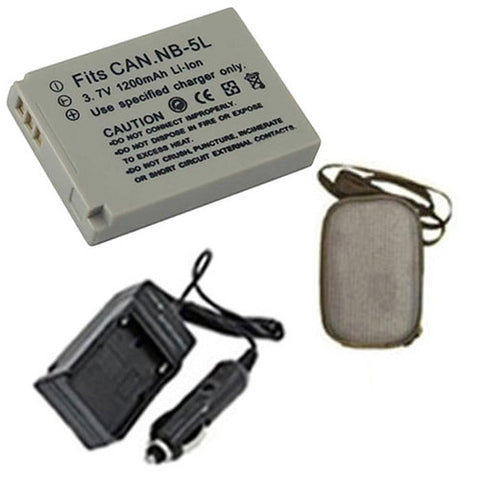 Amsahr Extended Life Replacement Digital Camera and Camcorder Battery PLUS Mini Battery Travel Charger for Canon NB-5L, NB5L, PowerShot: SD700, SD870 IS - Includes Hard Case Camera Bag