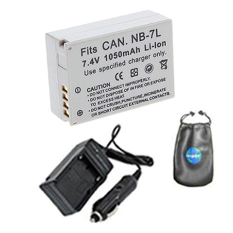 Amsahr Digital Replacement Digital Camera and Camcorder Battery PLUS Mini Battery Travel Charger for Canon NB-7L, NB7L, PowerShot G12, SX30 IS, G11 - Includes Lens Accessories Pouch