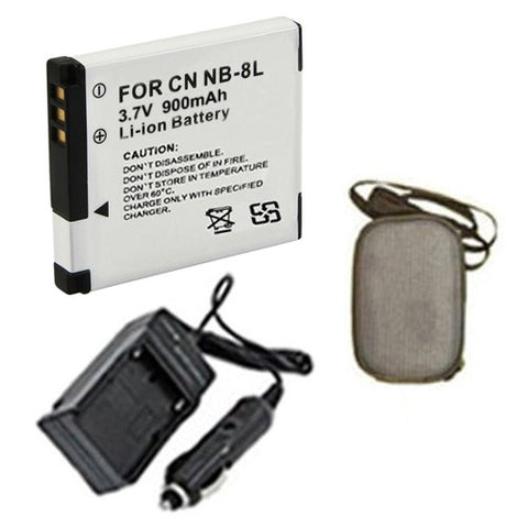 Amsahr Extended Life Replacement Digital Camera and Camcorder Battery PLUS Mini Battery Travel Charger for Canon NB-8L, Powershot A2200, A3300 IS, A3100 IS - Includes Hard Case Camera Bag
