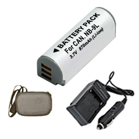 Amsahr Extended Life Replacement Digital Camera and Camcorder Battery PLUS Mini Battery Travel Charger for Canon NB-9L, IXUS 1000HS, PowerShot SD4500 IS - Includes Hard Case Camera Bag