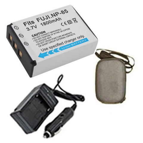 Amsahr Extended Life Replacement Digital Camera and Camcorder Battery PLUS Mini Battery Travel Charger for Fujifilm NP-85, FinePix SL240, SL260, SL280, SL300 - Includes Hard Case Camera Bag