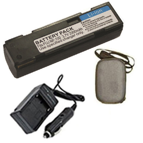 Amsahr Extended Life Replacement Digital Camera and Camcorder Battery PLUS Mini Battery Travel Charger for FujiFilm NP-100, FinePix MX-600, MX-600X, MX-600Z - Includes Hard Case Camera Bag