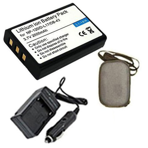 Amsahr Extended Life Replacement Digital Camera and Camcorder Battery PLUS Mini Battery Travel Charger for Fujifilm NP-120, F10, F11, Pentax Optio 450 - Includes Hard Case Camera Bag