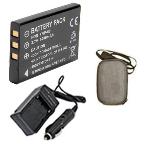 Amsahr Extended Life Replacement Digital Camera and Camcorder Battery PLUS Mini Battery Travel Charger for NP-60, 50i, 601, F401, Casio QV-R3, R4 - Includes Hard Case Camera Bag