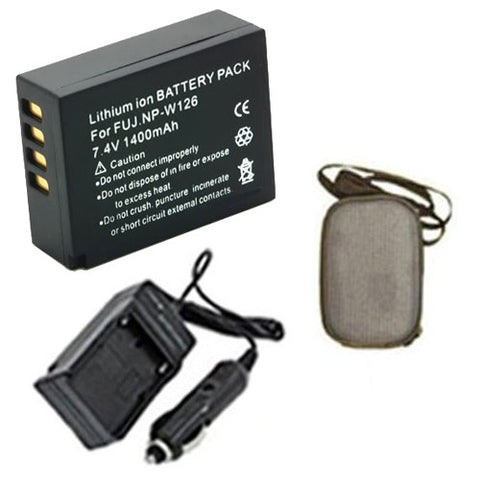 Amsahr Extended Life Replacement Digital Camera and Camcorder Battery PLUS Mini Battery Travel Charger for Fujifilm NP-W126, NPW126, FinePix HS30EXR, HS33EXR - Includes Hard Case Camera Bag