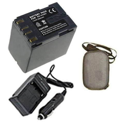 Amsahr Extended Life Replacement Digital Camera and Camcorder Battery PLUS Mini Battery Travel Charger for JVC BN: V428, 408, 416, 438U, GR: 33, D20, 200 - Includes Hard Case Camera Bag