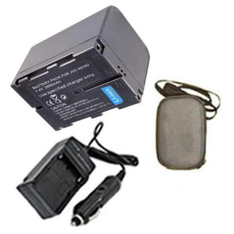 Amsahr Extended Life Replacement Digital Camera and Camcorder Battery PLUS Mini Battery Travel Charger for JVC BN-V615, BN-V615U, BN-V607, BN-V607U, GR: DV3 - Includes Hard Case Camera Bag