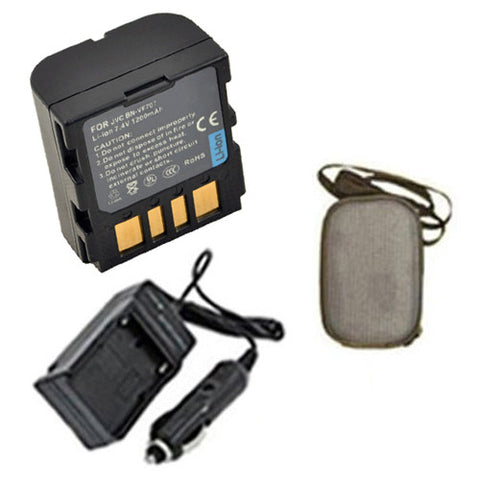 Amsahr Extended Life Replacement Digital Camera and Camcorder Battery PLUS Mini Battery Travel Charger for JVC BN-VF707, GZ: D240, 270, GR: D239, 240 - Includes Hard Case Camera Bag
