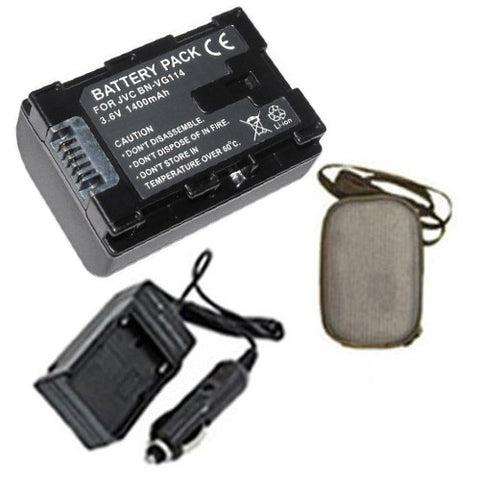 Amsahr Extended Life Replacement Digital Camera and Camcorder Battery PLUS Mini Battery Travel Charger for JVC BN: VG114, 107, 108, 121, 138, GZ-E Series - Includes Hard Case Camera Bag