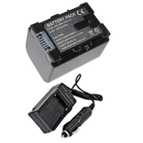 Amsahr Extended Performance Replacement Digital Camera and Camcorder Battery PLUS Mini Battery Travel Charger for JVC BN: VG121, 114, 107, 108, 138, Series: GX1 - Includes Car Adapter