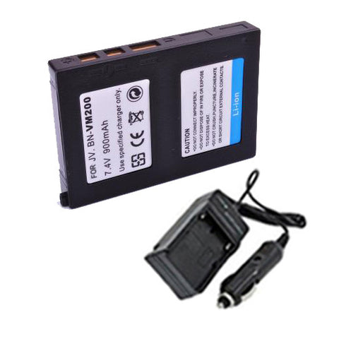 Amsahr Extended Performance Replacement Digital Camera and Camcorder Battery PLUS Mini Battery Travel Charger for JVC BN-VM200, BN-VM200U, GZ-MC100, GZ-MC100EK - Includes Car Adapter