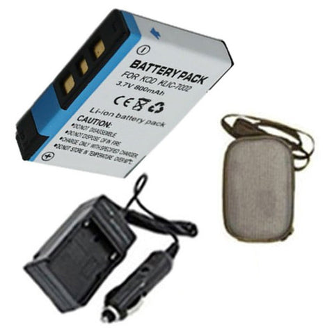 Amsahr Extended Life Replacement Digital Camera and Camcorder Battery PLUS Mini Battery Travel Charger for Kodak KLIC-7002, EasyShare V530, V530 Zoom, V603 - Includes Hard Case Camera Bag