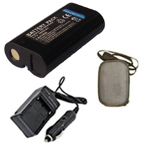 Amsahr Extended Life Replacement Digital Camera and Camcorder Battery PLUS Mini Battery Travel Charger for Kodak KLIC-8000, EASYSHARE Z612, Z712 IS, Z812 IS - Includes Hard Case Camera Bag