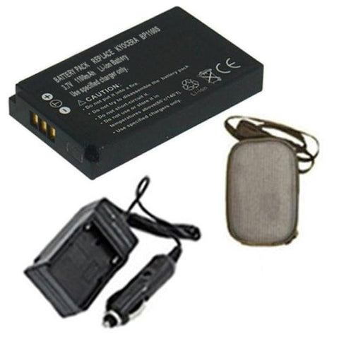 Amsahr Extended Life Replacement Digital Camera and Camcorder Battery PLUS Mini Battery Travel Charger for Kyocera BP-1100s, Contax U4R, U4RBK, U4RB - Includes Hard Case Camera Bag