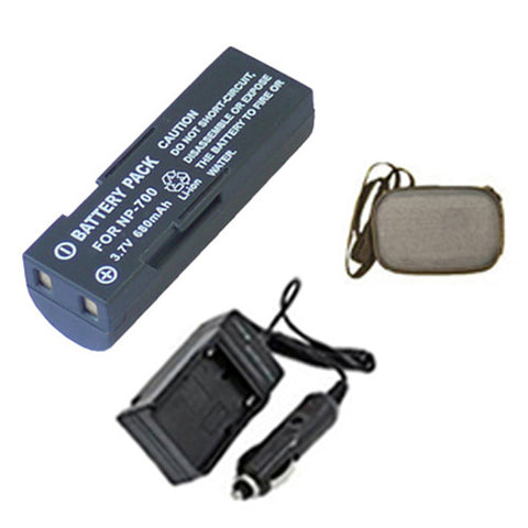 Amsahr Extended Life Replacement Digital Camera and Camcorder Battery PLUS Mini Battery Travel Charger for Minolta NP-700, pentax D-LI72 - Includes Hard Case Camera Bag