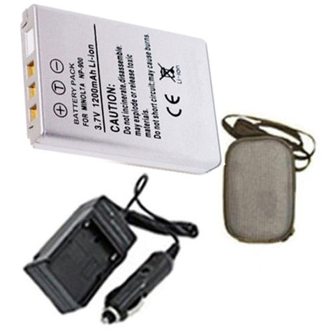 Amsahr Extended Life Replacement Digital Camera and Camcorder Battery PLUS Mini Battery Travel Charger for Minolta Konica NP-900, 02491-0015-00 - Includes Hard Case Camera Bag