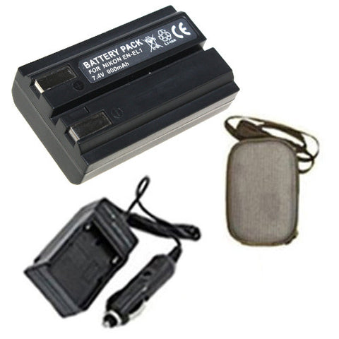 Amsahr Extended Life Replacement Digital Camera and Camcorder Battery PLUS Mini Battery Travel Charger for Nikon EN-EL1, ENEL1, Coolpix 4300, 4500, 4800 - Includes Hard Case Camera Bag