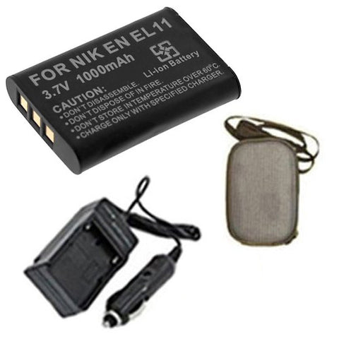 Amsahr Extended Life Replacement Digital Camera and Camcorder Battery PLUS Mini Battery Travel Charger for Nikon EN-EL11, Olympus LI-60B, Pentax D-LI78 - Includes Hard Case Camera Bag