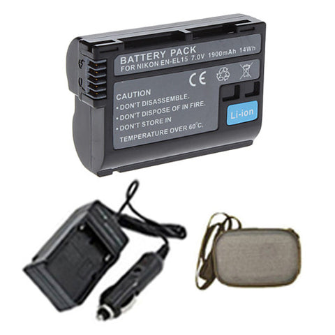 Amsahr Extended Life Replacement Digital Camera and Camcorder Battery PLUS Mini Battery Travel Charger for Nikon EN-EL15, ENEL15, 1 V1, D600, D7000, D7100 - Includes Hard Case Camera Bag