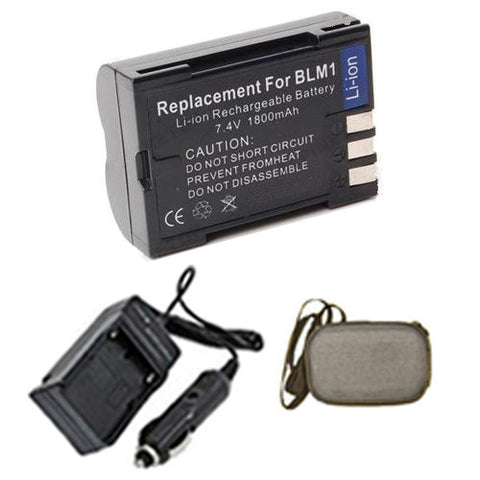 Amsahr Extended Life Replacement Digital Camera and Camcorder Battery PLUS Mini Battery Travel Charger for Olympus BLM-1, CAMEDIA C-5060 Wide Zoom, C7070 - Includes Hard Case Camera Bag