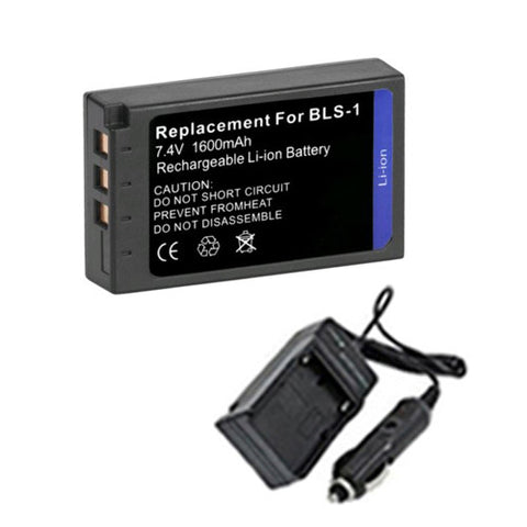 Amsahr Extended Performance Replacement Digital Camera and Camcorder Battery PLUS Mini Battery Travel Charger for Olympus BLS-1, E-450, Evolt E-400, Evolt E-410 - Includes Car Adapter