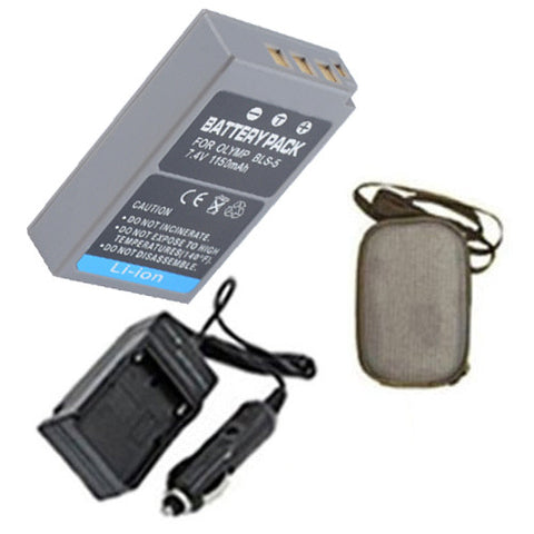 Amsahr Extended Life Replacement Digital Camera and Camcorder Battery PLUS Mini Battery Travel Charger for Olympus PS-BLS5, BLS-5, E-P3, E-PL3, E-PM1 - Includes Hard Case Camera Bag