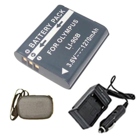 Amsahr Extended Life Replacement Digital Camera and Camcorder Battery PLUS Mini Battery Travel Charger for Olympus Li-90B, SH-50 iHS, Tough TG-1 iHS - Includes Hard Case Camera Bag