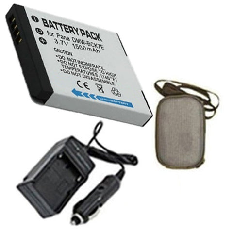 Amsahr Extended Life Replacement Digital Camera and Camcorder Battery PLUS Mini Battery Travel Charger for Panasonic DMW-BCK7E, Lumix DMC: FH2, FH25, FH25A - Includes Hard Case Camera Bag