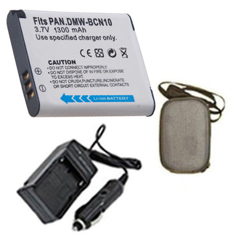 Amsahr Extended Life Replacement Digital Camera and Camcorder Battery PLUS Mini Battery Travel Charger for Panasonic DMW-BCN10, DMW-BCN10E, Lumix DMC-LF1 - Includes Hard Case Camera Bag