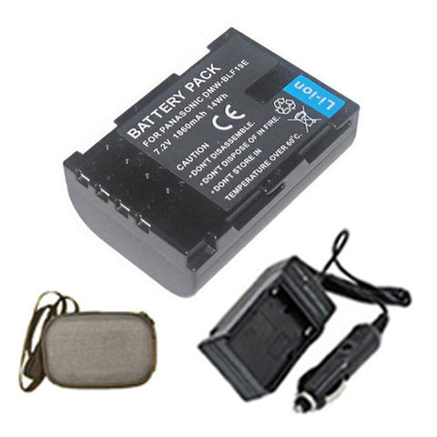 Amsahr Extended Life Replacement Digital Camera and Camcorder Battery PLUS Mini Battery Travel Charger for Panasonic DMW-BLF19, DMW-BLF19E, Lumix DMC-GH3 - Includes Hard Case Camera Bag