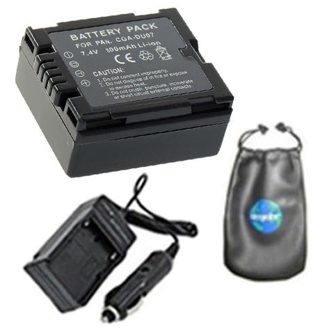 Amsahr Digital Replacement Digital Camera and Camcorder Battery PLUS Mini Battery Travel Charger for Panasonic CGA-DU07, CGA-DU06, CGA-DU14, CGA-DU21 - Includes Lens Accessories Pouch