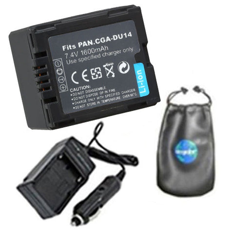 Amsahr Digital Replacement Digital Camera and Camcorder Battery PLUS Mini Battery Travel Charger for Panasonic CGA-DU14, CGA-DU06, CGA-DU07, CGA-DU12 - Includes Lens Accessories Pouch