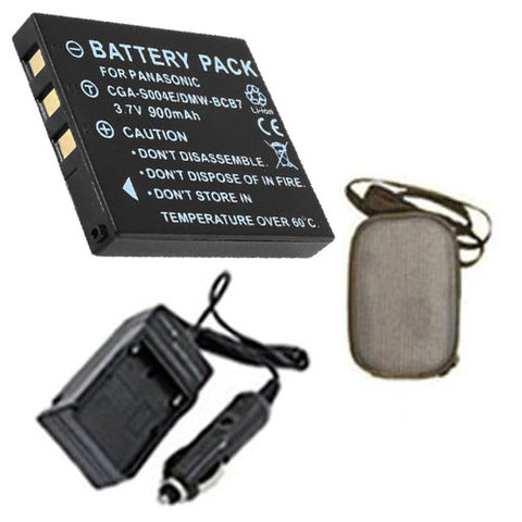 Amsahr Extended Life Replacement Digital Camera and Camcorder Battery PLUS Mini Battery Travel Charger for Panasonic CGA-S004, DMW-BCB7, DMC: FX2GN, FX7GN - Includes Hard Case Camera Bag