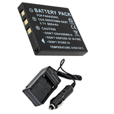 Amsahr Extended Performance Replacement Digital Camera and Camcorder Battery PLUS Mini Battery Travel Charger for Panasonic CGA-S004, DMW-BCB7, DMC: FX2GN, FX7GN - Includes Car Adapter