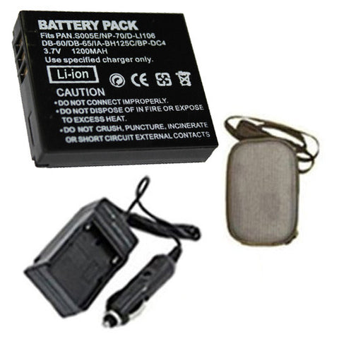 Amsahr Extended Life Replacement Digital Camera and Camcorder Battery PLUS Mini Battery Travel Charger for Panasonic CGA: S005 Lumix DMC: FX8-K, FX01EF-S - Includes Hard Case Camera Bag
