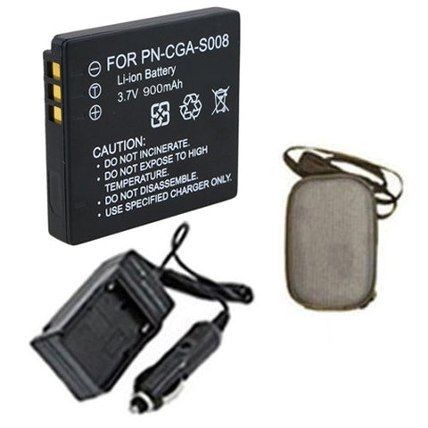 Amsahr Extended Life Replacement Digital Camera and Camcorder Battery PLUS Mini Battery Travel Charger for Panasonic CGA: S008, S008E, S008E/1B - Includes Hard Case Camera Bag