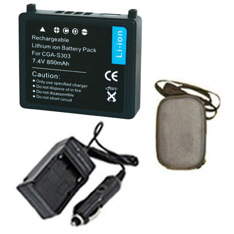Amsahr Extended Life Replacement Digital Camera and Camcorder Battery PLUS Mini Battery Travel Charger for Panasonic CGA-S303, VW-VBE10, SDR-S100EG-S - Includes Hard Case Camera Bag