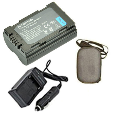 Amsahr Extended Life Replacement Digital Camera and Camcorder Battery PLUS Mini Battery Travel Charger for Panasonic CGR: S602, S602A, S602A/1B, S602E - Includes Hard Case Camera Bag