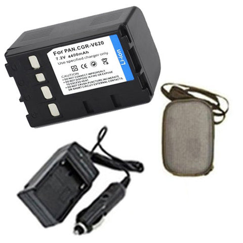 Amsahr Extended Life Replacement Digital Camera and Camcorder Battery PLUS Mini Battery Travel Charger for Panasonic CGR: V26S, V26SE/1B, V620, V620E/1B - Includes Hard Case Camera Bag