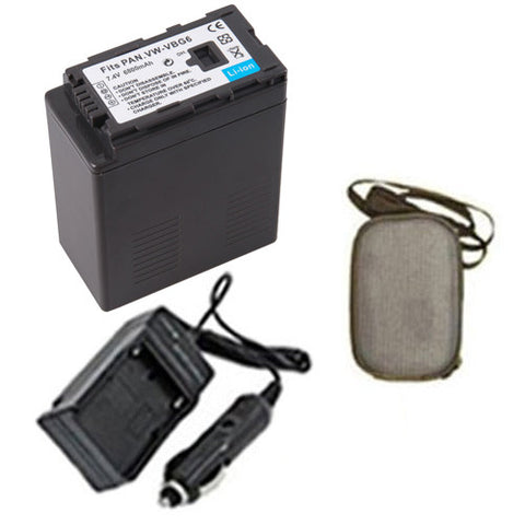 Amsahr Extended Life Replacement Digital Camera and Camcorder Battery PLUS Mini Battery Travel Charger for Panasonic VW: VBG6, VBG6-K, VBG6PPK, VBG6PP - Includes Hard Case Camera Bag