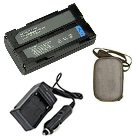 Amsahr Extended Life Replacement Digital Camera and Camcorder Battery PLUS Mini Battery Travel Charger for Panasonic VW: VBD1, VBD1E, VBD2, VBD2E - Includes Hard Case Camera Bag