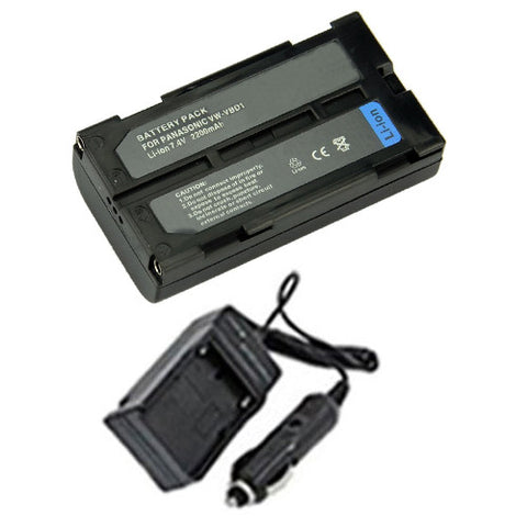 Amsahr Extended Performance Replacement Digital Camera and Camcorder Battery PLUS Mini Battery Travel Charger for Panasonic VW: VBD1, VBD1E, VBD2, VBD2E - Includes Car Adapter